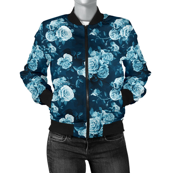 Luxury Blue Floral Lovers Women's Bomber Jacket