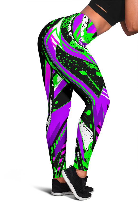 Racing Style Violet & Neon Green Women's Leggings