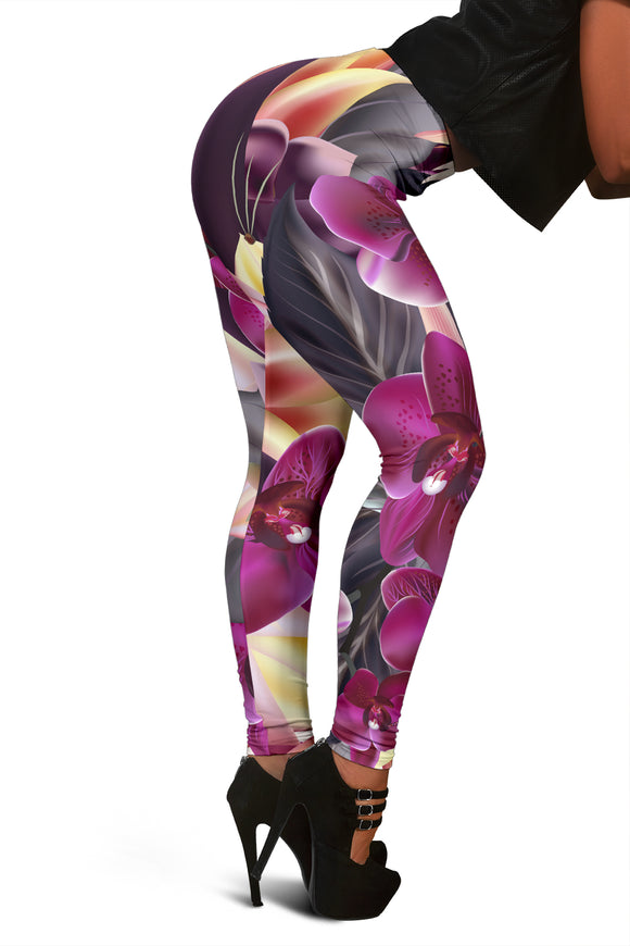 Colorful Flowers Art Three Women's Leggings
