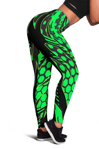 Racing Style Matrix Green & Black Vibes Women's Leggings