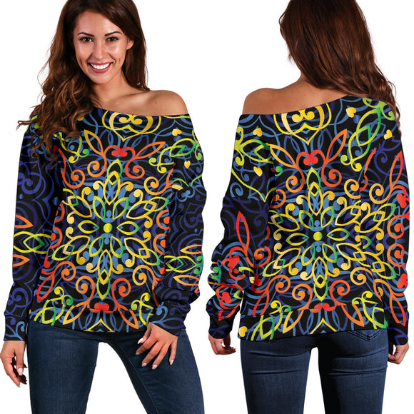 Glowing Rasta Mandala Women's Off Shoulder Sweater