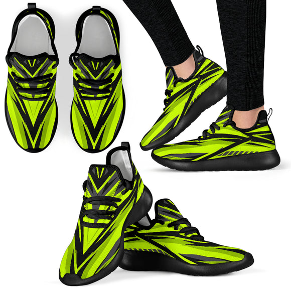 Racing Style Neon Green & Black Colorful Vibe Mesh Knit Sneakers