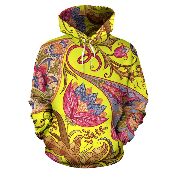 Neon Yellow & Pink Paisley Pattern All Over Hoodie