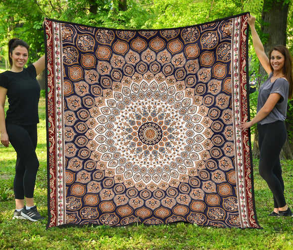 Luxury Persian Carpet Style in Brown Premium Quilt