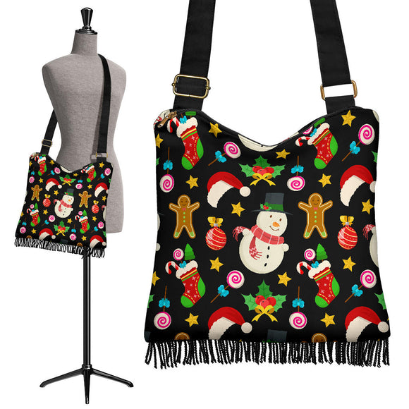Christmas Lovely Good Vibes Only Crossbody Boho Handbag