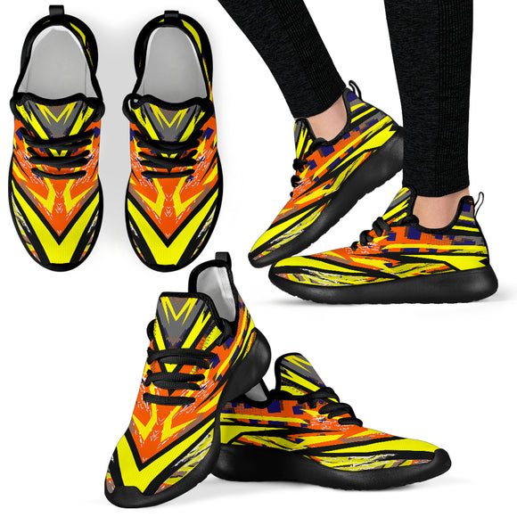 Racing Style Yellow & Orange Colorful Vibes Mesh Knit Sneakers