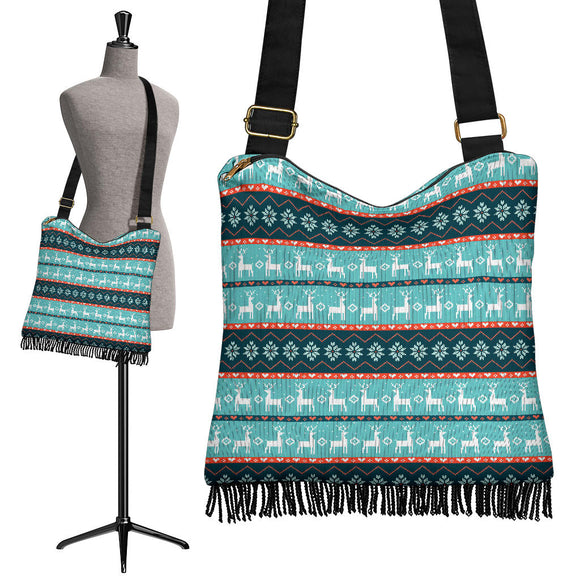 Christmas Good Vibes Only Crossbody Boho Handbag