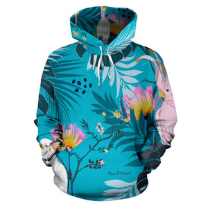 Tropical Birds In Tree All Over Hoodie