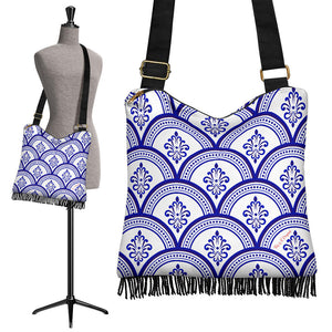 Amazing Traditional White & Blue Ornaments Vibes One Crossbody Boho Handbag
