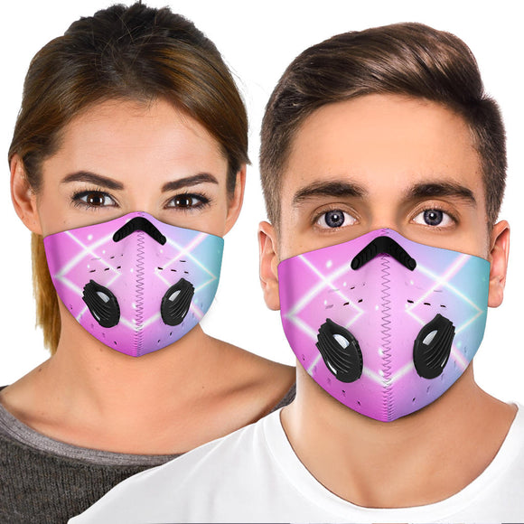Future Neon Style Pink & Blue Lights Two Premium Protection Face Mask