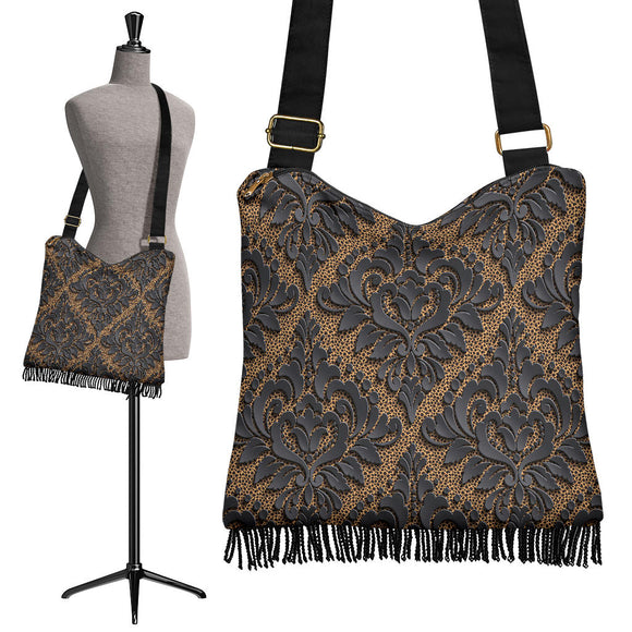Royal Black Crossbody Boho Handbag