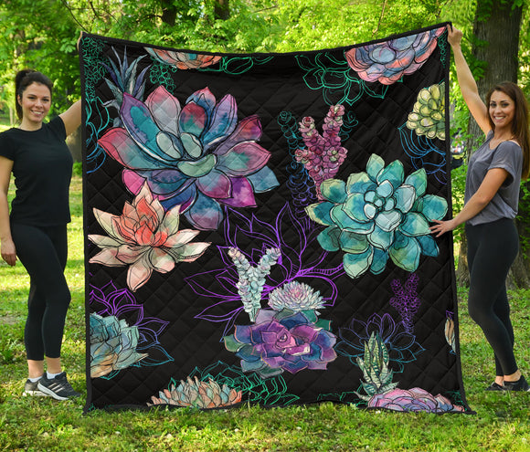 Colorful Flowers in the Lake Premium Quilt