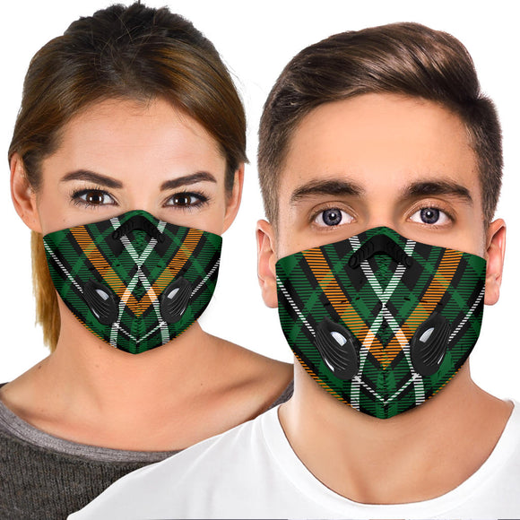 Amazing Luxury Dark Green Tartan Premium Protection Face Mask