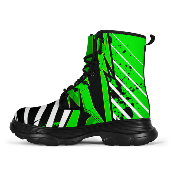 Racing Style Funky Green & White Vibes Chunky Boots