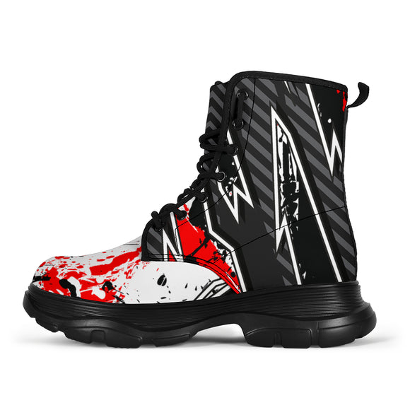 Racing Style Bloody Red  & Black Vibes Chunky Boots