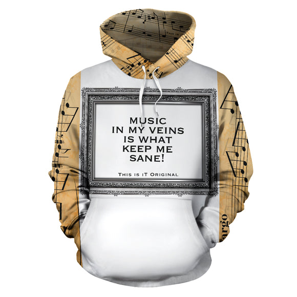 Music in my veins is what keep me sane. Music in Silver Frame Edition Hoodie