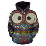 Lovely Big Eye Colorful Owl All Over Hoodie