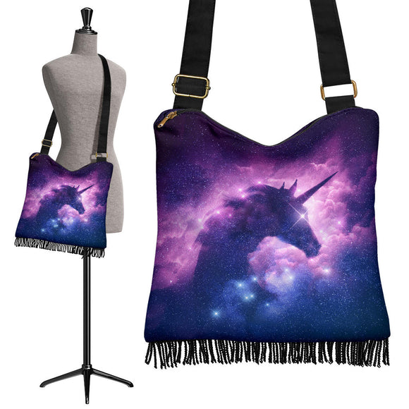 Magical Cosmic Purple Unicorn Crossbody Boho Handbag