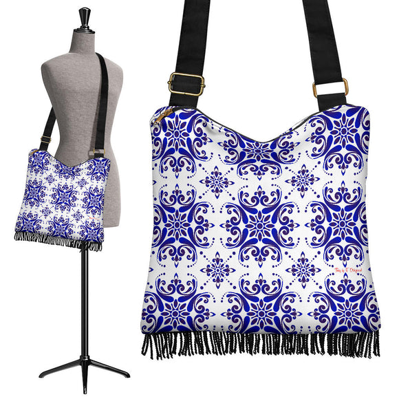 Amazing Traditional White & Blue Ornaments Vibes Three Crossbody Boho Handbag