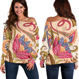 Royal Paisley Women's Off Shoulder Sweater