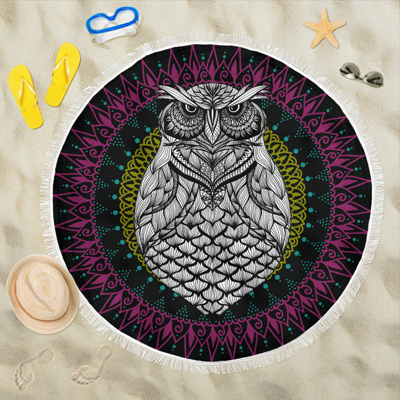 Mandala Purple Owl Beach Blanket