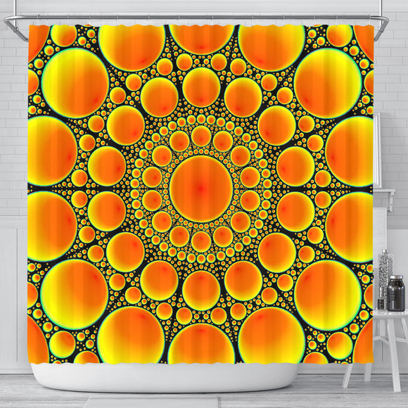 Neon Orange Sun Shower Curtain