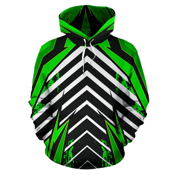 Racing Urban Style Green & White Stripes Vibes All Over Hoodie