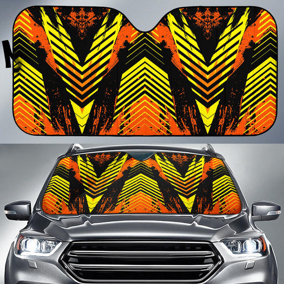 Racing Style Orange & Black Stripes Vibes Auto Sun Shades