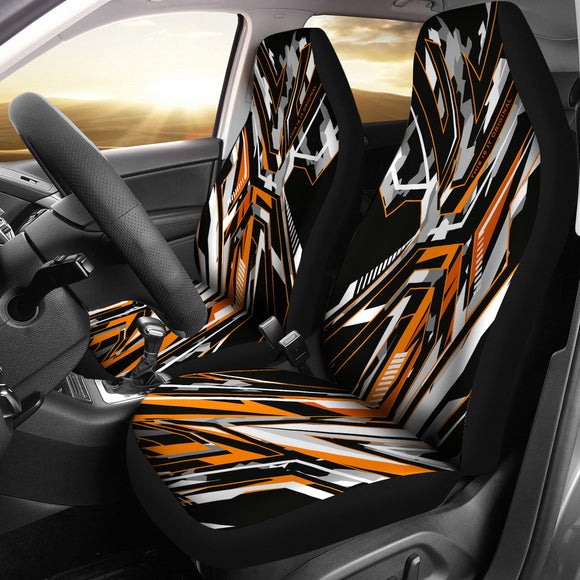Extreme Racing Army Style Black & Orange Design Car Seat Covers
