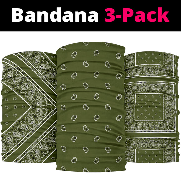 Perfect Army Green Bandana Style Bandana 3-Pack