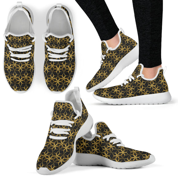 Black & Gold Geometric 2 Mesh Knit Sneakers