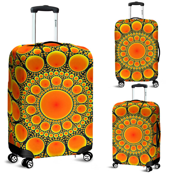 Neon Orange Sun Luggage Cover