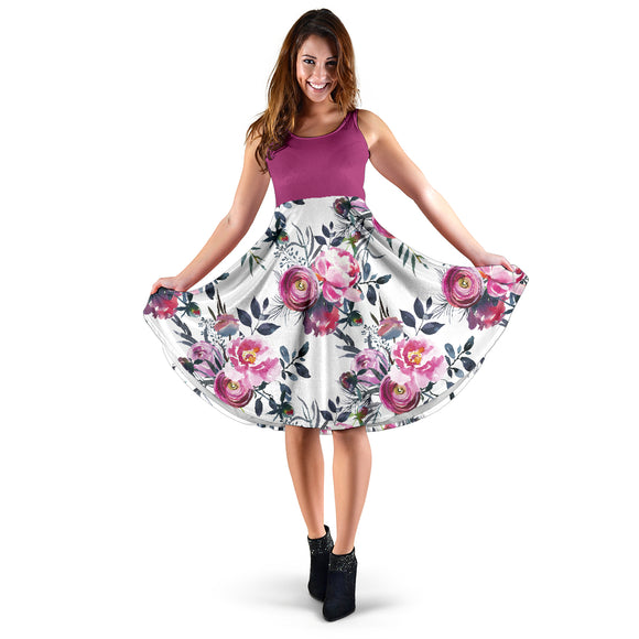 Floral Grey Roses Women's Dress