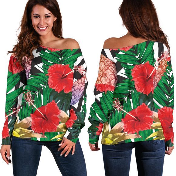 Summer Pineapple Love Women's Off Shoulder Sweater