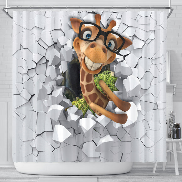 3D Giraffe Shower Curtain