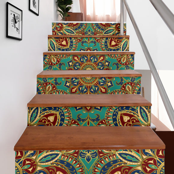Best Home Decoration Luxury Mandala Style Three Stair Stickers (Set of 6)