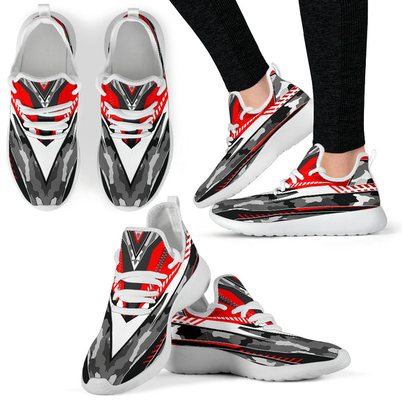Racing Army Style Red & Grey Mesh Knit Sneakers