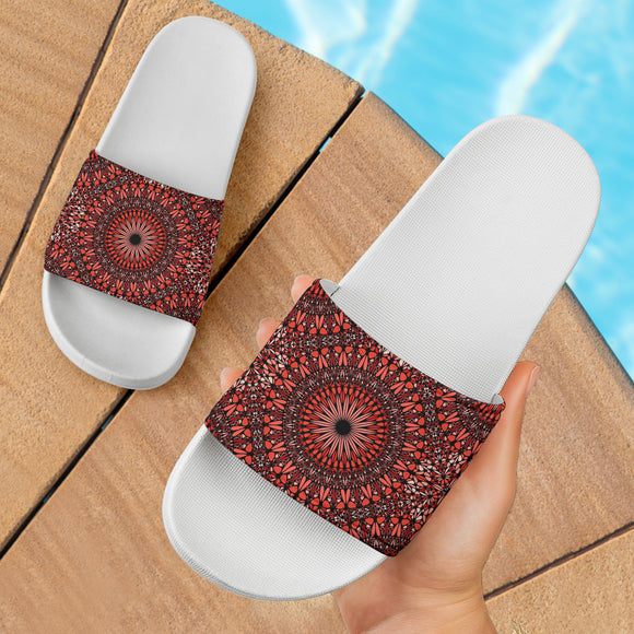 Red Spiritual Mandala Slide Sandals