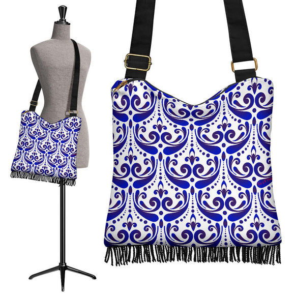Amazing Traditional White & Blue Ornaments Vibes Four Crossbody Boho Handbag