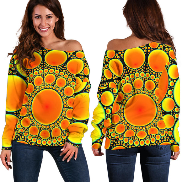 Neon Orange Sun Women's Off Shoulder Sweater