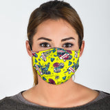 Tattoo Studio Design in Yellow Protection Face Mask