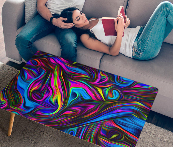Psychedelic Blue Art Rectangular Coffee Table