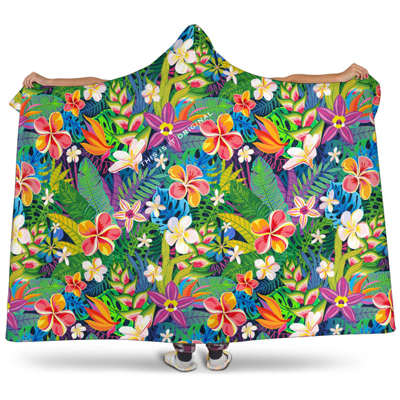 Luxury Special Tropical Flower Design Hooded Blanket