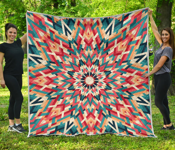 Green Magical Power Energy Kaleidoscope Premium Quilt