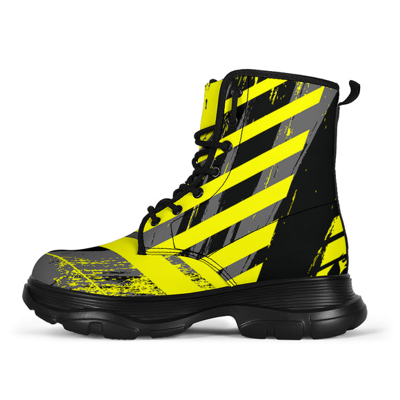 Racing Urban Style Industrial Yellow & Grey Vibes Chunky Boots