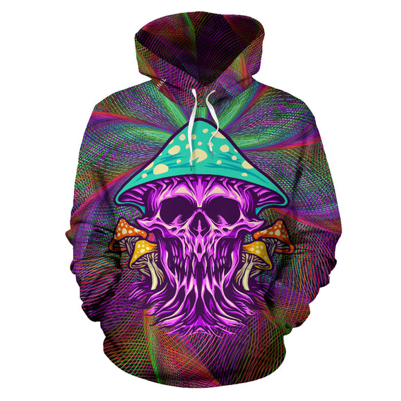 Colorful Psychedelic Design Skull with Mushrooms Four Hoodie
