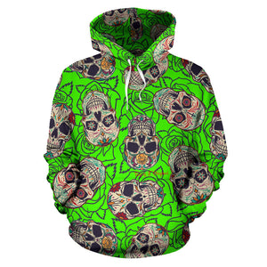 Neon Green Style & Skull Design All Over Hoodie