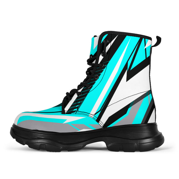 Racing Style Ice Blue & White Chunky Boots
