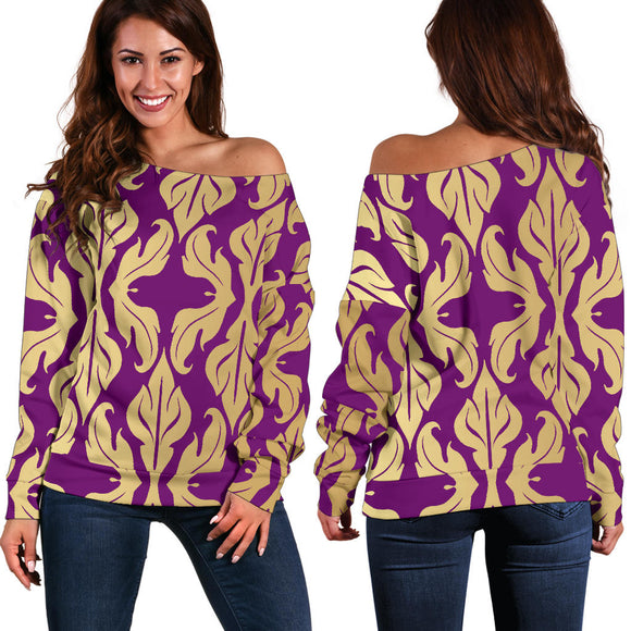 Purple Baroque Women's Off Shoulder Sweater