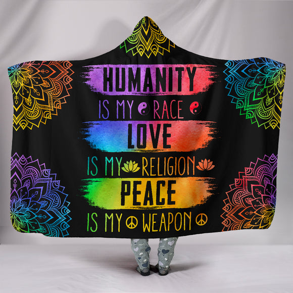 Humanity Love Peace Religion Premium Hooded Blanket